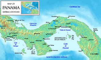 Pearl Islands - Location of the Pearl Islands (Archipiélago de las Perlas) in the Gulf of Panama