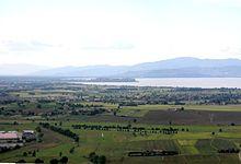 Vista della Val di Chiana romana e aretina da Panicale
