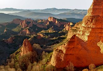 Gold mining - Landscape of Las Médulas, Spain, the result of hydraulic mining on a vast scale by the Ancient Romans