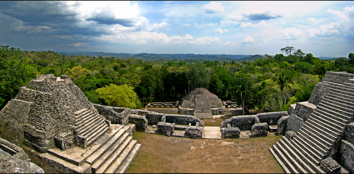 Overlooking the Caracol ruins, the most extensive archaeological site in the country. Panorama atop Caracol.png
