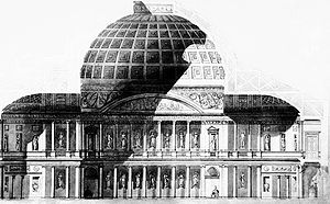 Pantheon, London - A cross section of the rotunda, showing the dome and the colonnades.