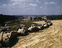 Parade of M-4 (General Sherman) and M-3 (General Grant) tanks in training maneuvers, Ft Knox.jpg