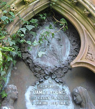 James Young (chemist) - Portrait bust of James Young, on his gravestone in Inverkip cemetery.