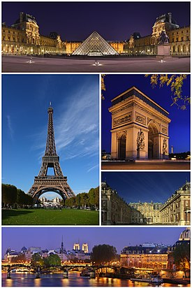 Paris montage. Clicking on an image in the picture causes the browser to load the appropriate article.