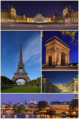 从上方顺时针依序为卢浮宫、凯旋门、凡尔赛宫、艺术桥、埃菲尔铁塔