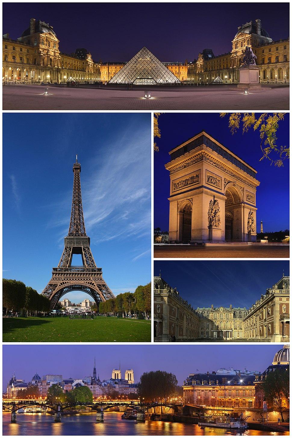 巴黎意象:從上方順時針依序為羅浮宮、凱旋門、凡爾賽宮、藝術橋與巴黎夜景、艾菲爾鐵塔