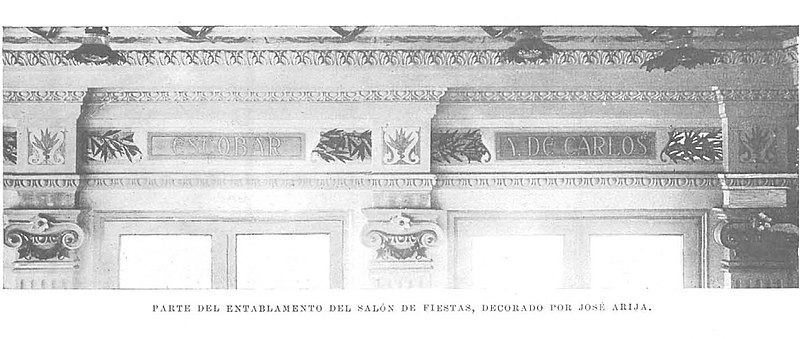File parte del entablamento del sal n de fiestas decorado for Departamentos decorados en blanco