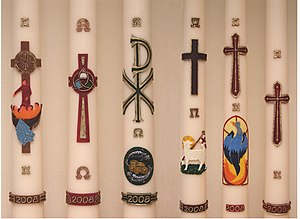 Paschal candle - Some Paschal candles in the Netherlands.