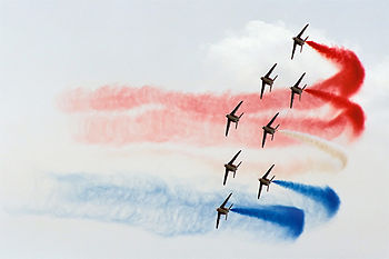Patrouille de France, French tricolor turn, Radom AirShow 2005, Poland.jpg