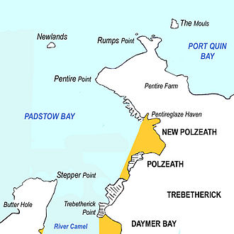 Polzeath - Sketch map showing Polzeath and the surrounding area