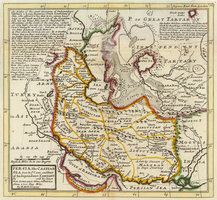 Map of the Safavid Empire, published 1736. Persia, Caspian Sea, part of Independent Tartary.png