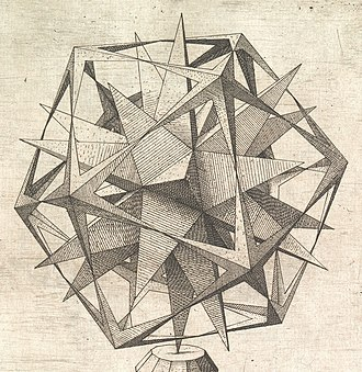 Kepler–Poinsot polyhedron - Great dodecahedron and great stellated dodecahedron in  Perspectiva Corporum Regularium by Wenzel Jamnitzer (1568)