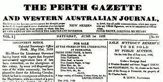 The West Australian - Masthead from the Perth Gazette and Western Australian Journal, published Saturday 1 June 1833.