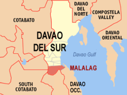 Map of Davao del Sur showing the location of Malalag