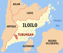 Map of Iloilo with Tubungan highlighted
