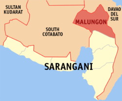 Map of Sarangani with Malungon highlighted