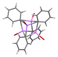 Stick model of the crystal structure of the phenyllithium etherate tetramer - ether ethyl groups omitted for clarity