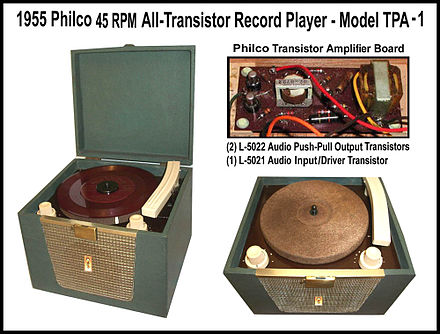 Philco all-transistor model TPA-1 phonograph, developed and produced in 1955 Philco All-Transistor Phonograph-1955.jpg