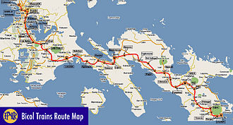 Philippine National Railways - Route map of Bicol Express