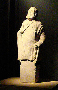 A hermaic sculpture of an old man, thought to be the master of a gymnasium. He held a long stick in his right hand. Ai Khanoum, Afghanistan, 2nd century BC.