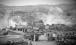 Greek genocide - Phocaea in flames, during the massacre perpetrated by Turkish irregulars in June 1914.