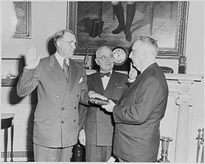 Charles Edward Wilson (businessman) - Wilson (left) being sworn in