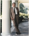 Photograph of President Reagan posing on the White House Colonnade - NARA - 198553.tif