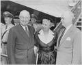 Photograph of President Truman with First Lady Bess Truman and Treasury Secretary John Snyder, at the airport in... - NARA - 200391.tif
