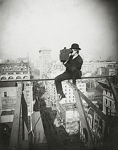 Photographing New York City - on a slender support 18 stories above pavement of Fifth Avenue.jpg
