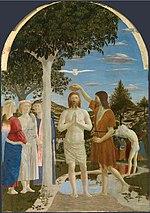 Bautismo de Cristo, pintura de Piero della Francesca (National Gallery, Londres).