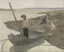 Painting of a man standing in a boat on a rivershore