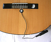 A piezoelectric pickup on a classical guitar.
