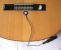 Piezoelectric pickup on an acoustic guitar