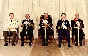 Government Junta of Chile (1973) - Members of the Government Junta in 1985: Rodolfo Stange, José Toribio Merino, Augusto Pinochet, Fernando Matthei and César Benavides (from left to right). At this point, Pinochet was no longer officially a member of the Government Junta.