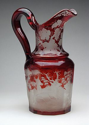 Glass - Bohemian flashed and engraved ruby glass (19th-century)