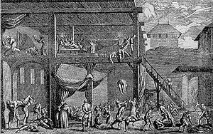 Great Plague of Vienna - A plague hospital in Vienna 1679. Contemporary engraving.