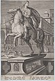 Plate 12- equestrian statue of Domitian, seen three-quarters to the left, with his stabbing death at right in the background, from 'Roman Emperors on Horseback' MET DP877301.jpg