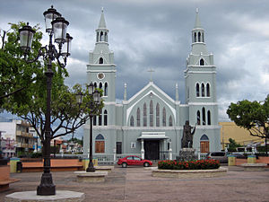 The main plaza and the Catholic Church of Aguada