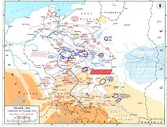 Map showing the advance made by the Germans and the disposition of German and Polish troops on 14 September 1939.