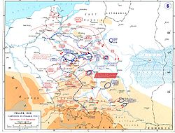 """In Poland, fast moving armies encircled Polish forces (blue circles), but the """"blitzkrieg"""" idea never really took hold – artillery and infantry forces acted in time-honoured fashion to crush these pockets."""