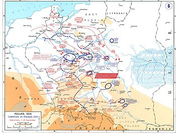 A map of Poland showing the German invasion from east Germany, East Prussia and German-occupied Czechoslovakia in September 1939