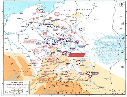 In Poland, fast moving armies encircled Polish forces (blue circles) but not by independent armoured operations. Combined tank, artillery, infantry and air forces were used. Poland2.jpg