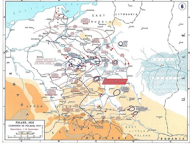 Map showing the advance made by the Germans, and the disposition of German and Polish troops on 14 September 1939.