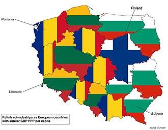 Voivodeships of Poland - Polish voivodeships as European countries with similar GDP PPP per capita