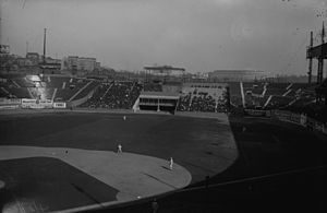 1923 World Series - The newly built Yankee Stadium was visible from the Polo Grounds in 1923, seen here above the outfield bleachers.