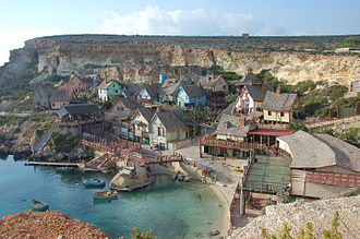 Popeye Village - Popeye Village in Anchor Bay, taken from the hill overlooking the village (early 2000s).