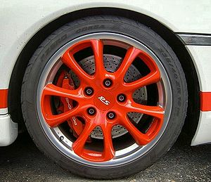 Porsche 996 GT3 RS (2003) red rim with Pirelli...