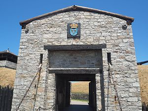 Fort Niagara - Porte des Cinq Nations. Beginning in 1756, the main entrance to Fort Niagara was established at the southern bastion, on the side of the Niagara River. The French named this gate the Porte des Cinq Nations', that is the Gate of the Five Nations, in honor of the Iroquois Confederacy.