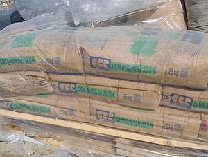 English: A pallet of Portland cement bags used...
