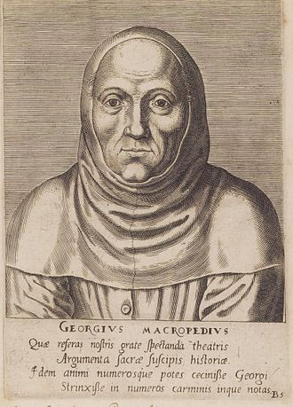 Macropedius -  Georgius Macropedius, portrait by Philips Galle, poem by Benito Arias Montanus. Gent University Library.